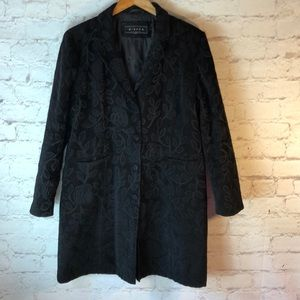 GIACCA BLACK VINTAGE FLORAL TRENCH COAT